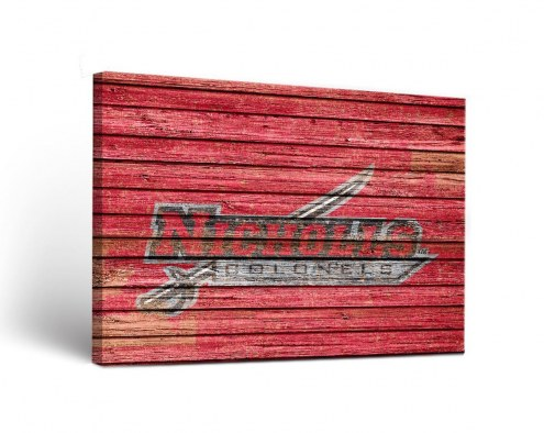 Nicholls State Colonels Weathered Canvas Wall Art
