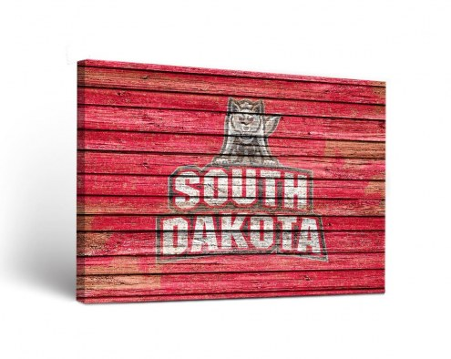 South Dakota Coyotes Weathered Canvas Wall Art