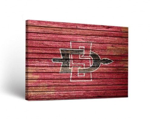 San Diego State Aztecs Weathered Canvas Wall Art