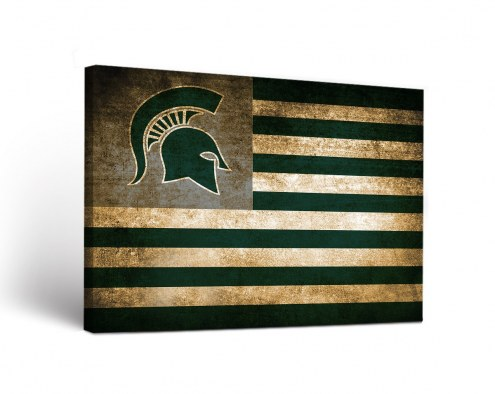 Michigan State Spartans Vintage Flag Canvas Wall Art