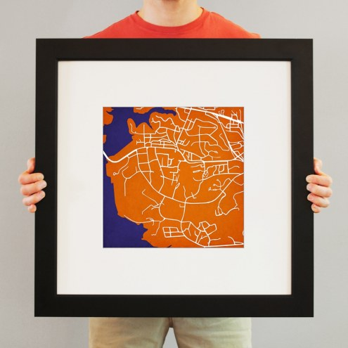 Clemson Tigers Campus Map Print