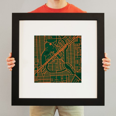 Miami Hurricanes Campus Map Print