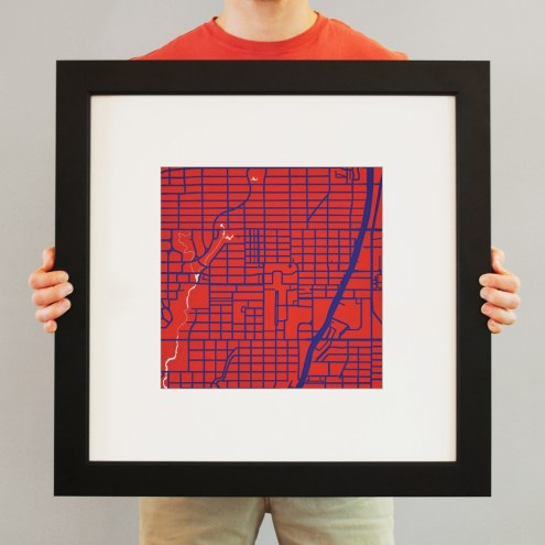 Southern Methodist Mustangs Campus Map Print