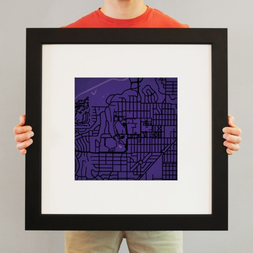 Texas Christian Horned Frogs Campus Map Print