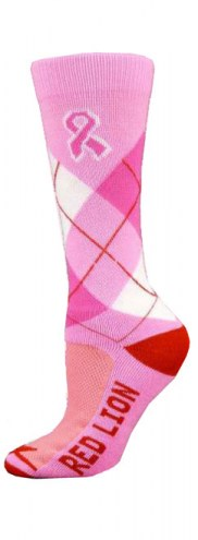 Red Lion Ribbon Argyle Crew Adult Socks - Sock Size 9-11