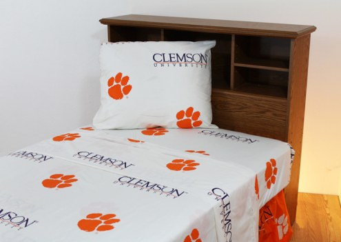 Clemson Tigers White Bed Sheets