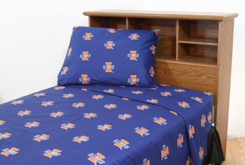 Illinois Fighting Illini Dark Bed Sheets