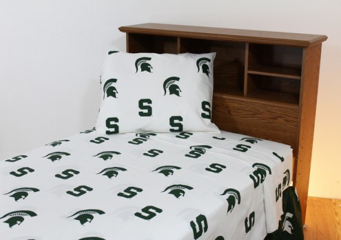 Michigan State Spartans White Bed Sheets