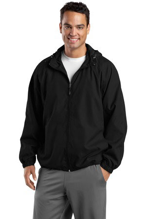 Sport-Tek Custom Men's Hooded Raglan Full-Zip Wind Jacket