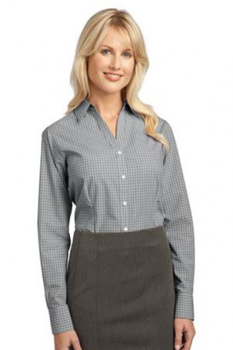 Port Authority Custom Women's Plaid Pattern Easy Care Button-Down Shirt