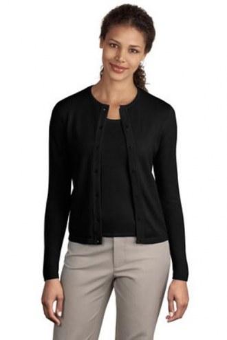 Port Authority Custom Women's Fine-Gauge Crewneck Cardigan Sweater
