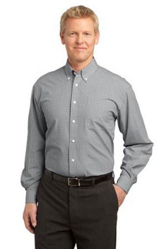 Port Authority Custom Men's Plaid Pattern Easy Care Button-Down Shirt