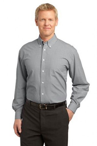 Port Authority Custom Men's Plaid Pattern Easy Care Button-Down Shirt