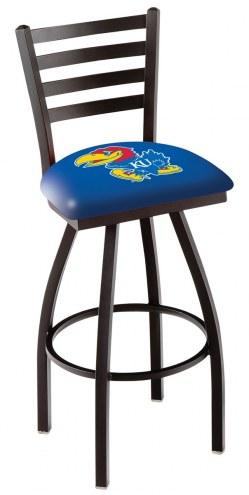 Kansas Jayhawks Swivel Bar Stool with Ladder Style Back
