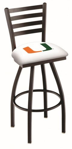 Miami Hurricanes Swivel Bar Stool with Ladder Style Back