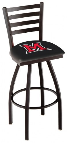 Miami of Ohio RedHawks Swivel Bar Stool with Ladder Style Back