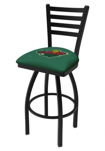 Minnesota Wild Swivel Bar Stool with Ladder Style Back
