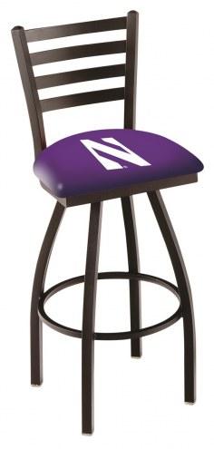 Northwestern Wildcats Swivel Bar Stool with Ladder Style Back
