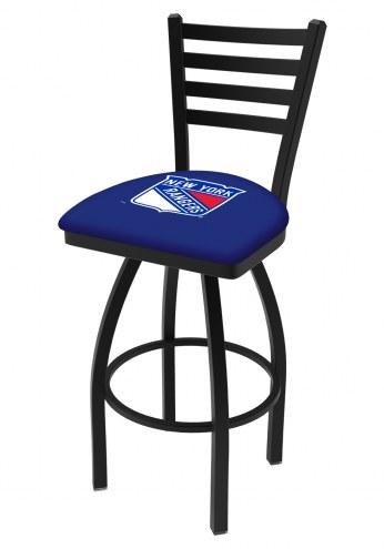 New York Rangers Swivel Bar Stool with Ladder Style Back