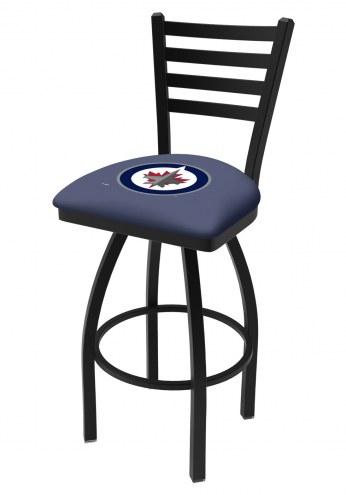 Winnipeg Jets Swivel Bar Stool with Ladder Style Back