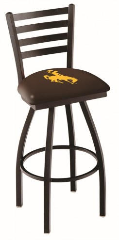 Wyoming Cowboys Swivel Bar Stool with Ladder Style Back