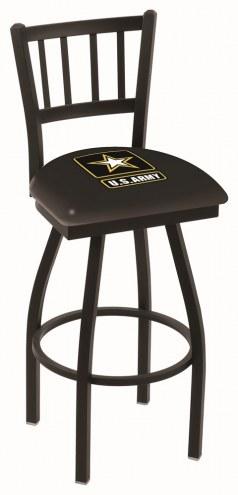 U.S. Army Black Knights Swivel Bar Stool with Jailhouse Style Back