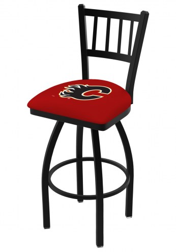 Calgary Flames Swivel Bar Stool with Jailhouse Style Back