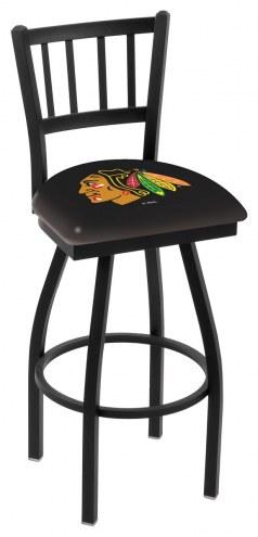 Chicago Blackhawks Swivel Bar Stool with Jailhouse Style Back