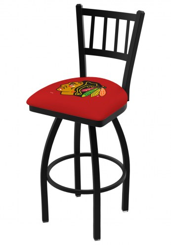 Chicago Blackhawks NHL Swivel Bar Stool with Jailhouse Style Back