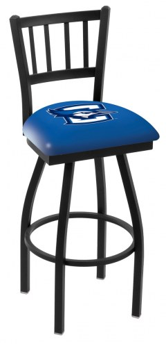 Creighton Bluejays Swivel Bar Stool with Jailhouse Style Back