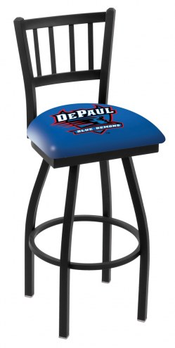 DePaul Blue Demons Swivel Bar Stool with Jailhouse Style Back