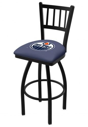 Edmonton Oilers Swivel Bar Stool with Jailhouse Style Back