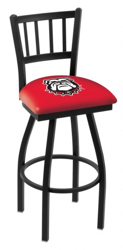 Georgia Bulldogs NCAA Swivel Bar Stool with Jailhouse Style Back