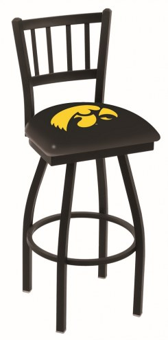 Iowa Hawkeyes Swivel Bar Stool with Jailhouse Style Back