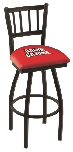 Louisiana Lafayette Ragin' Cajuns Swivel Bar Stool with Jailhouse Style Back