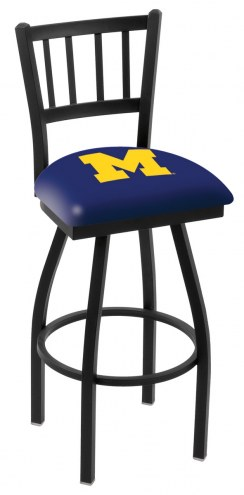 Michigan Wolverines Swivel Bar Stool with Jailhouse Style Back