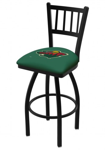 Minnesota Wild Swivel Bar Stool with Jailhouse Style Back