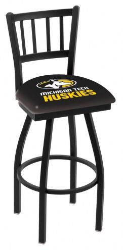 Michigan Tech Huskies Swivel Bar Stool with Jailhouse Style Back
