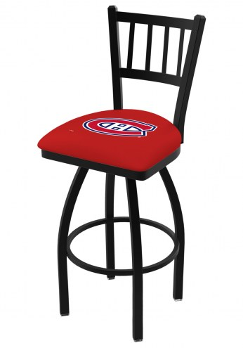 Montreal Canadiens Swivel Bar Stool with Jailhouse Style Back