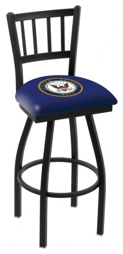 U.S. Navy Midshipmen Swivel Bar Stool with Jailhouse Style Back