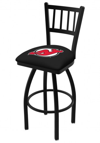 New Jersey Devils Swivel Bar Stool with Jailhouse Style Back