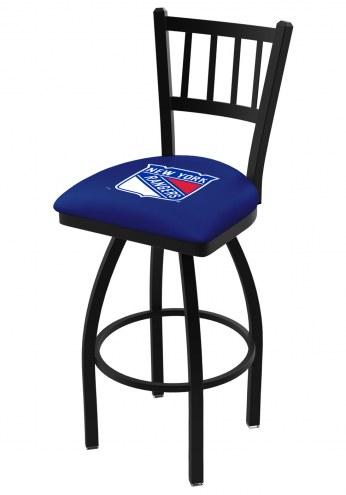 New York Rangers Swivel Bar Stool with Jailhouse Style Back
