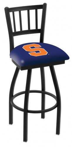Syracuse Orange Swivel Bar Stool with Jailhouse Style Back