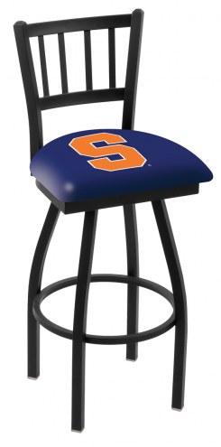 Syracuse Orange Swivel Bar Stool with Jailhouse Style Back