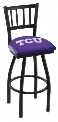 Texas Christian Horned Frogs Swivel Bar Stool with Jailhouse Style Back