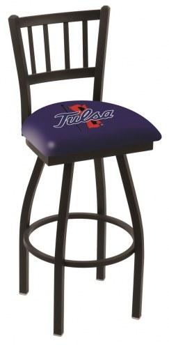 Tulsa Golden Hurricane Swivel Bar Stool with Jailhouse Style Back
