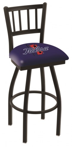 Tulsa Golden Hurricane Swivel Bar Stool with Jailhouse Style Back
