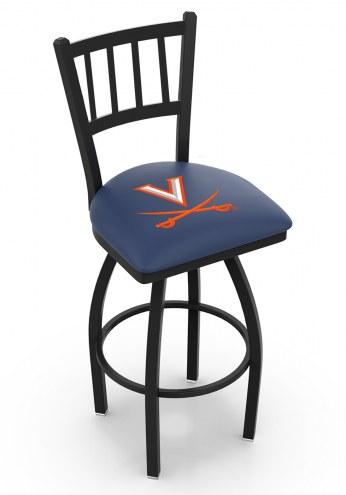 Virginia Cavaliers Swivel Bar Stool with Jailhouse Style Back