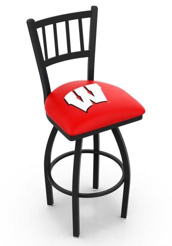 Wisconsin Badgers NCAA Swivel Bar Stool with Jailhouse Style Back