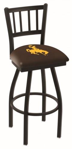 Wyoming Cowboys Swivel Bar Stool with Jailhouse Style Back